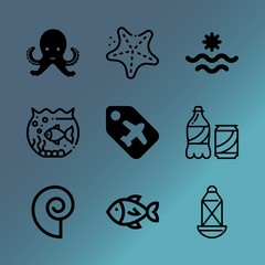 Vector icon set about sea with 9 icons related to food, refreshment, isolated, fruit, set, image, white, black, paradise and transportation