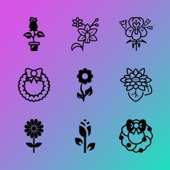 Vector icon set about flowers with 9 icons related to organic, fresh, merry, ornate, strong, pink, romantic, elegance, winner and tree