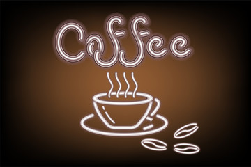 Coffee shop signage advertising of signboard and icon brush design,Vector, Illustration