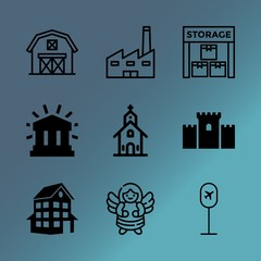 Vector icon set about building with 9 icons related to fortress, home, medieval, modern, grunge, man, delivering, outdoors, paul and inside