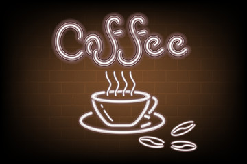 Coffee shop signage advertising of signboard and icon brush design, Illustration