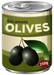 A tine of kalamata black olives