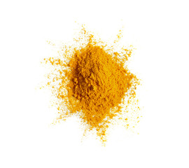 Turmeric (Curcuma) powder pile isolated on white background, top view.