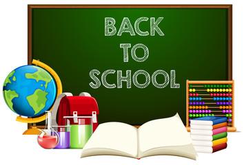 Back to school blackboard with school object