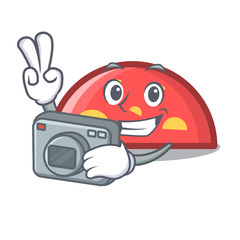 Photographer semicircle mascot cartoon style