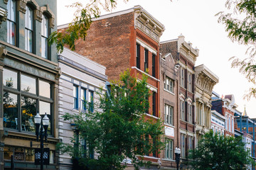 Historic buildings along Vine Street in Over-The-Rhine, Cincinnati, Ohio.