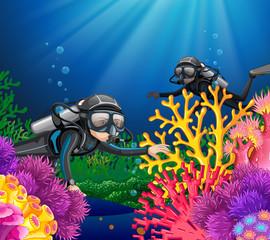 Scuba diving in deep ocean