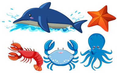 Set of aquatic animals