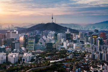 Fototapete - Sunrise scene of Seoul downtown city skyline