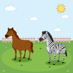 Zebra and horse in nature