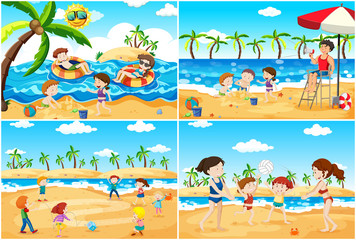 A set of children playing at beach