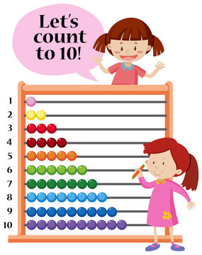 Lets count to 10 abacus concept