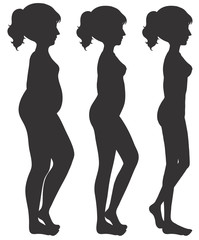 A set of woman body transformation