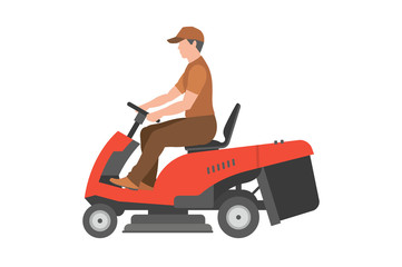 Man with red lawnmower. flat style. isolated on white background