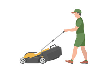 Man with yellow lawnmower. flat style. isolated on white background