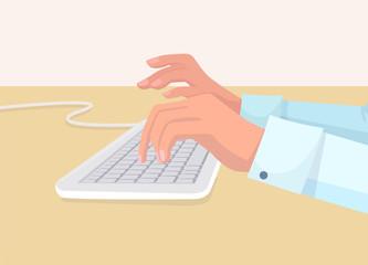 Secretarys Hands Types on White Coputer Keyboard