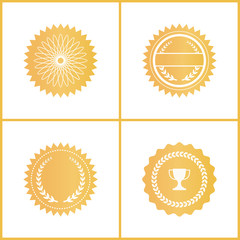Round Gold Certificate Emblems for Documents Set