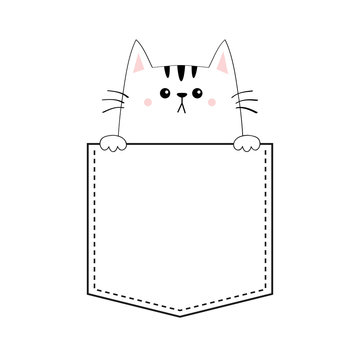 Cute cat in the pocket. Pink cheeks. Holding paw hands. Doodle contour linear sketch. Cartoon pet animals. Kitten kitty character. Dash line. White black color. T-shirt design. Baby background. Flat