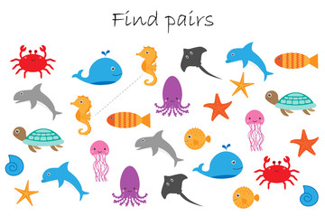 Find pairs of identical pictures, fun education game with different ocean animals for children, preschool worksheet activity for kids, task for the development of logical thinking, vector illustration