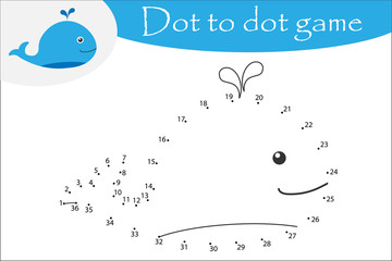 Whale in cartoon style, dot to dot game, coloring page, education numbers game for the development of children, kids preschool activity, printable worksheet, vector illustration