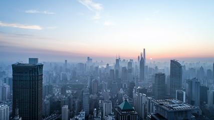 aerial view of shanghai city in foggy dawn