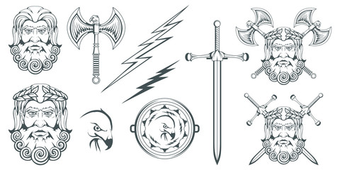 Zeus - the ancient Greek god of heaven, thunder and lightning. Greek mythology. Two-sided ax labrys and eagle. Olympian gods collection. Hand drawn Man Head. Bearded man. Vector graphics to design