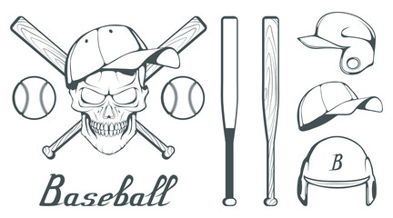 Set of baseball player design elements. Hand drawn Baseball ball. Cartoon baseball helmet. Hand drawn Man Head. Baseball bat. Vector graphics to design