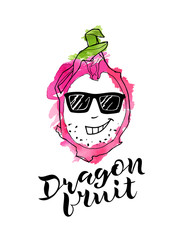 vector line illustration of dragon fruite crazy with pink watercolor abstract background and handwritten lettering. Isolated dragon fruit for label, menu, icon, banner.