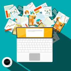 Paperwork Design with Laptop Computer and Coffee on Table. Vector Top View Illustration.
