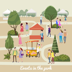 Modern flyer or poster template, Different various people characters, men and women in the park, outdoor festival with ice cream seller, walking people, buying and selling goods at park. on vacation