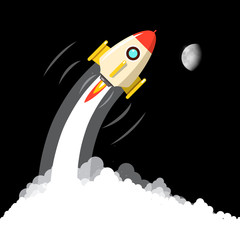 Rocket Launch with Moon on Night Sky. Vector Business Startup Design.