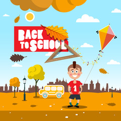 Back to School Autumn Landscape with Kite, Boy and Bus. Fall Field.