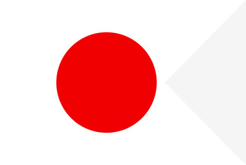 Flag of Japan. Symbol of Independence Day, souvenir soccer game banner, language button, icon.