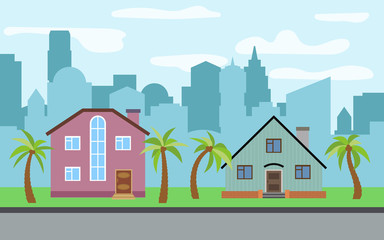 Vector city with two two-story cartoon houses and palm trees in the sunny day. Summer urban landscape. Street view with cityscape on a background
