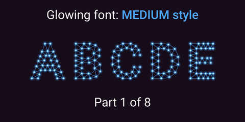Blue Glowing font in the Outline style