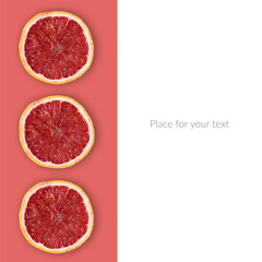 Grapefruit Slices On The Pink Background. Place Your Text Here