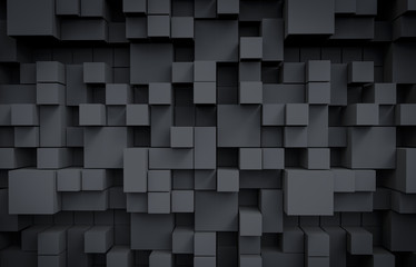 Dark Cubes Background. 3D Render