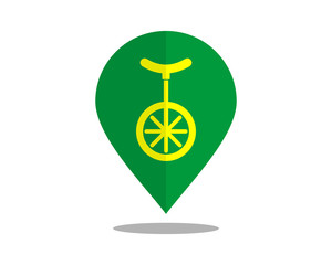 one wheel icon marker pin path image vector icon logo