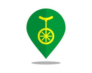 one wheel icon marker pin path image vector icon logo