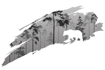 Wall Mural - a fragment of the background with a forest and a bear for your design. Vector illustration, black and white