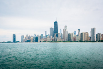 The Chicago skyline, seen from North Avenue Beach in Chicago, Illinois.