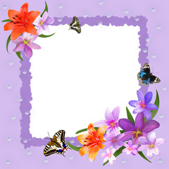 Color photo frame with butterflies and flowers.