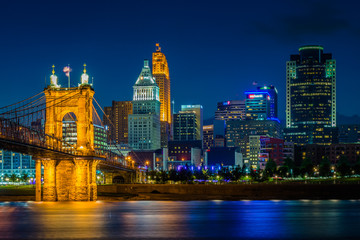 The Cincinnati skyline and Ohio River at night, seen from Covington, Kentucky,