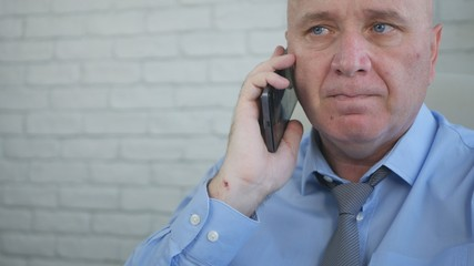 Businessperson Portrait Talking to Mobile Phone