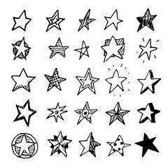Hand Drawn stars doodles set. Sketch style icons. Decoration element. Isolated on white background. Flat design. Vector illustration