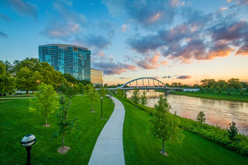 The Lower Scioto Greenway, and Scioto River at sunset, in Columbus, Ohio.