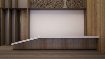 Interior of modern reception in hostel , 3d rendering