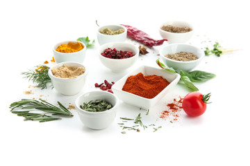 Composition with different spices on white background