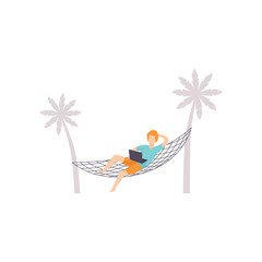 Freelancer lying on hammock and working with laptop, remote working, freelance concept vector Illustration on a white background