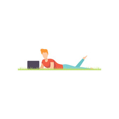 Young man lying on the grass with laptop, remote working, freelance concept vector Illustration on a white background